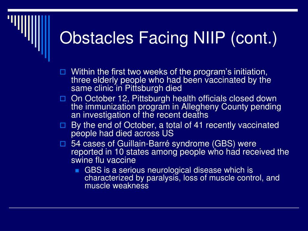 Obstacles Facing NIIP (cont.)