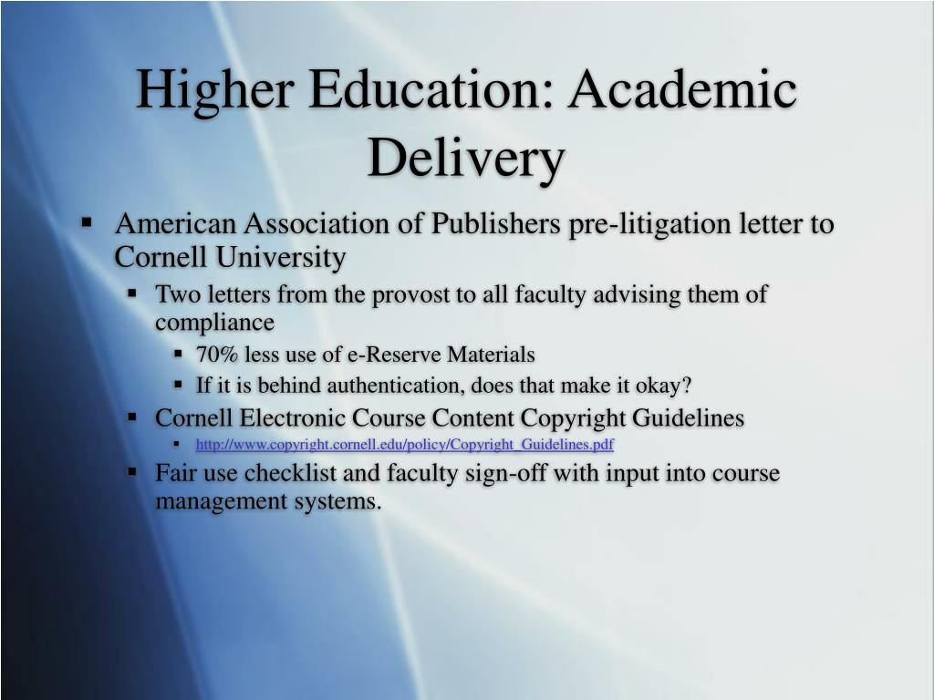 Higher Education: Academic Delivery