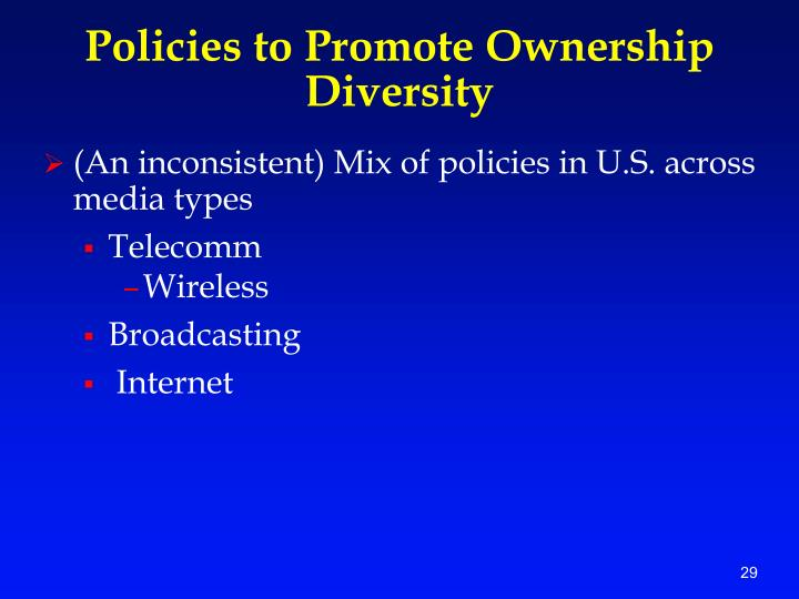 Policies to Promote Ownership Diversity