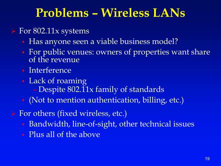 Problems – Wireless LANs
