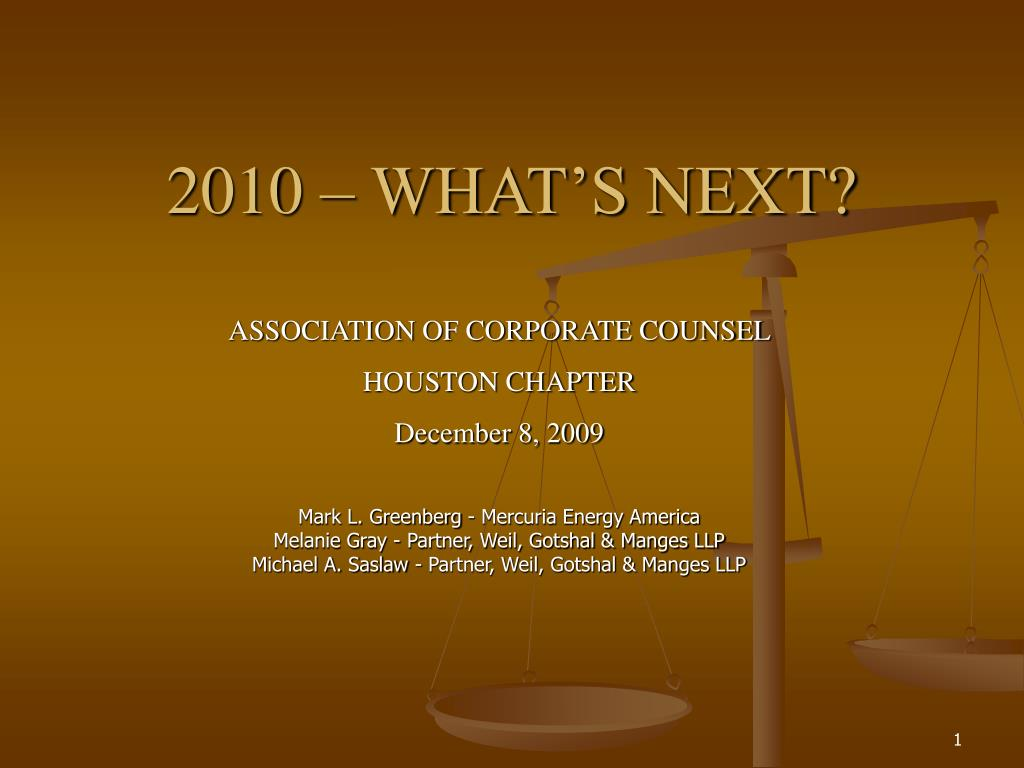 2010 – WHAT'S NEXT?