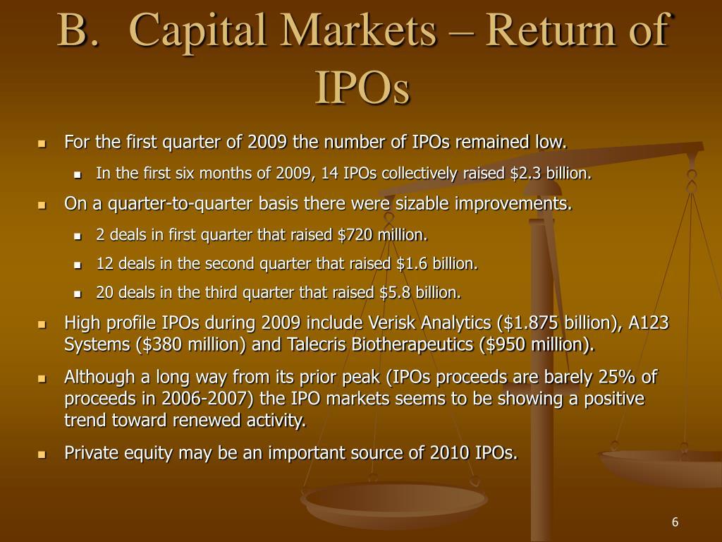 B.Capital Markets – Return of IPOs