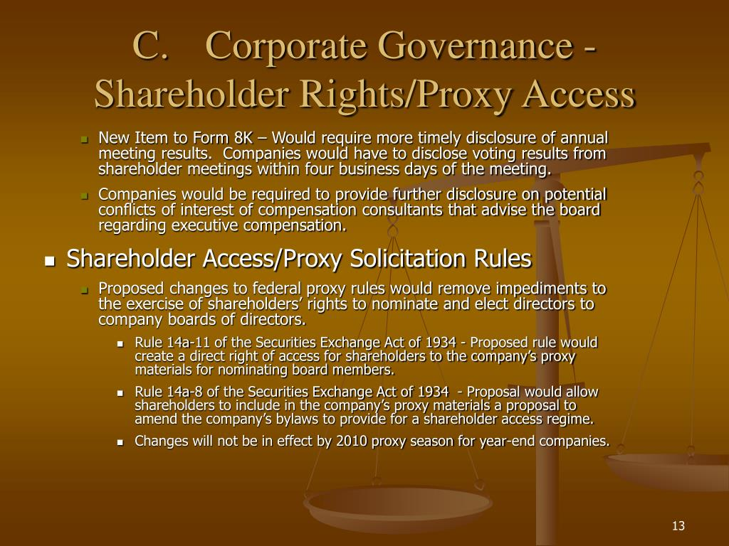 C.Corporate Governance - Shareholder Rights/Proxy Access
