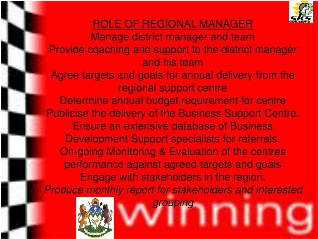 ROLE OF REGIONAL MANAGER