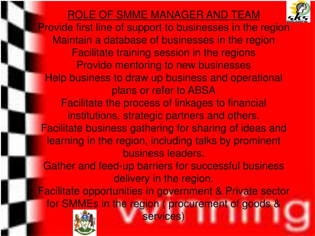 ROLE OF SMME MANAGER AND TEAM