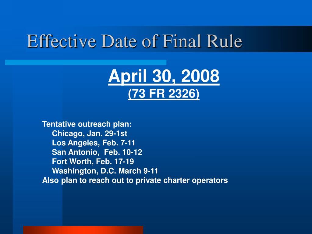 Effective Date of Final Rule