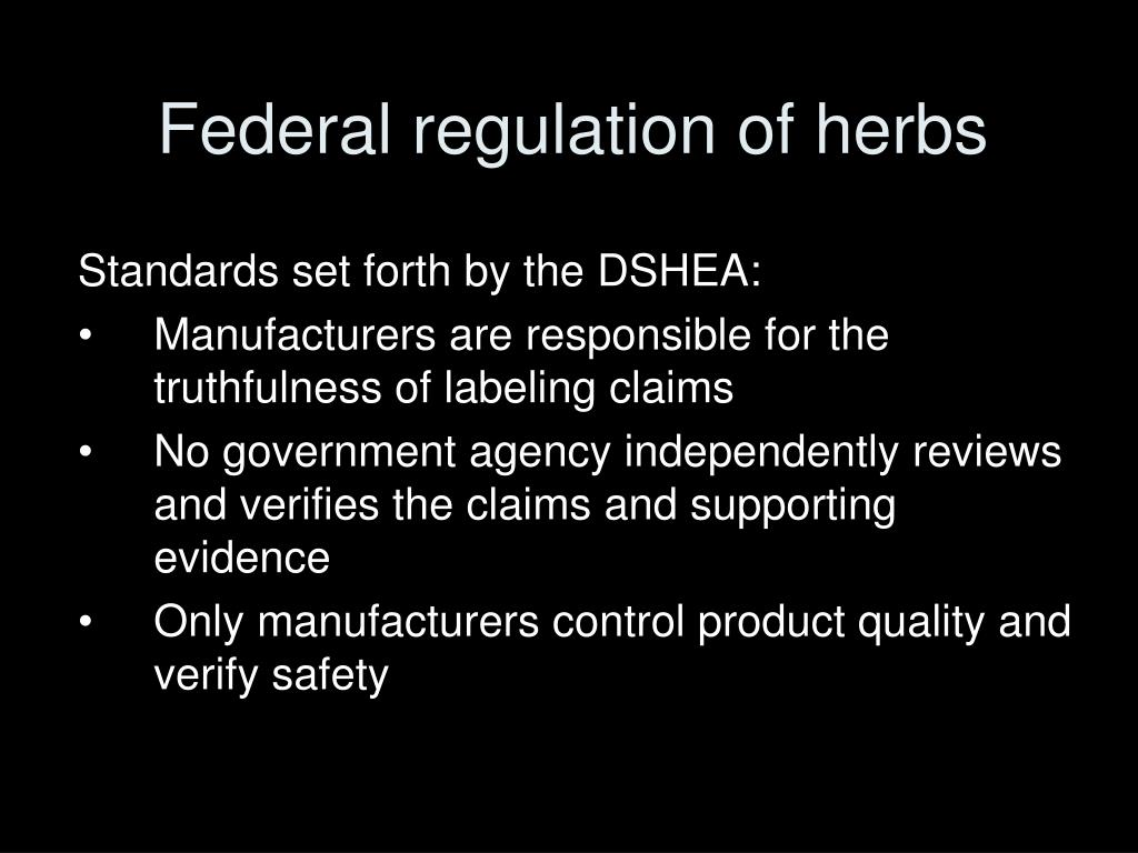 Federal regulation of herbs