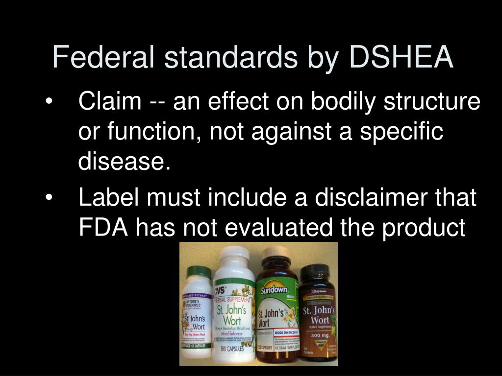 Federal standards by DSHEA