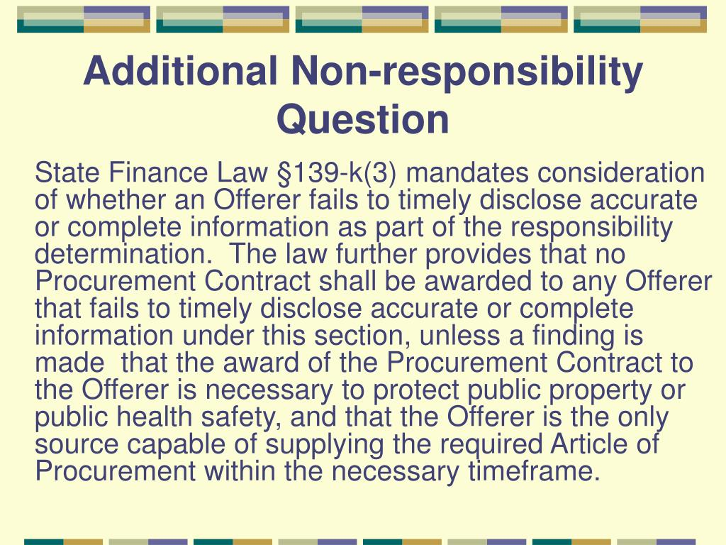 Additional Non-responsibility Question