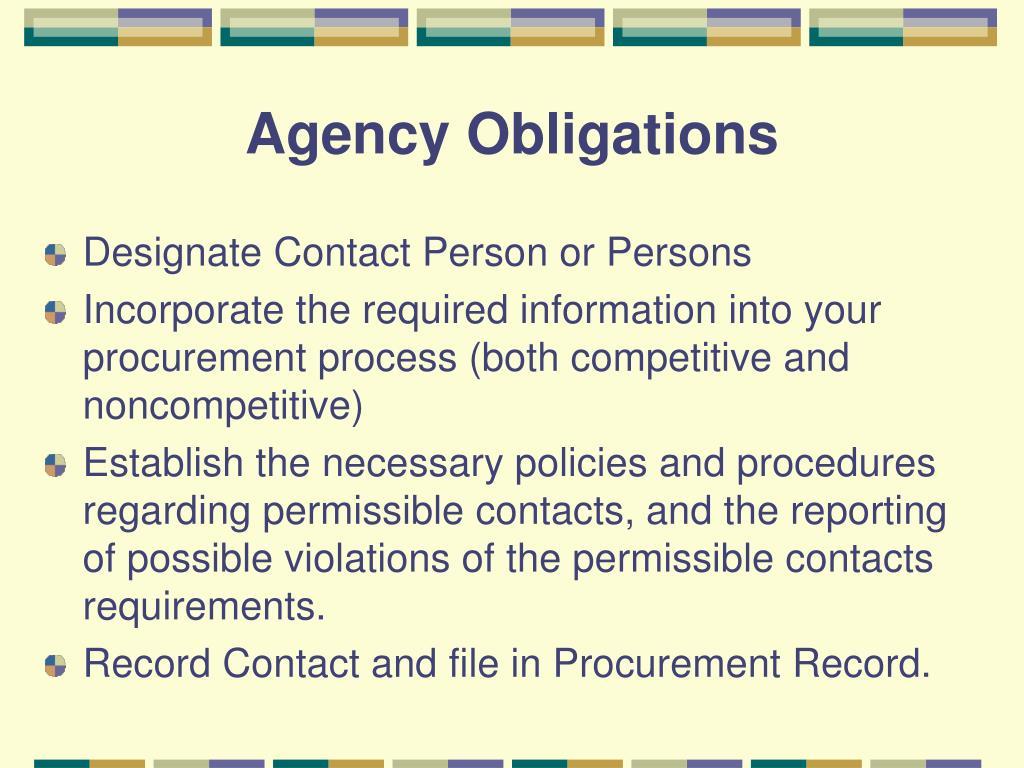 Agency Obligations