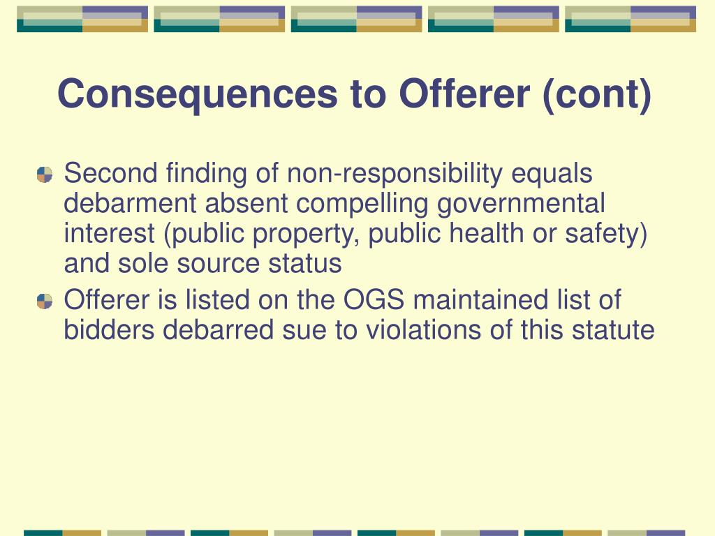 Consequences to Offerer (cont)