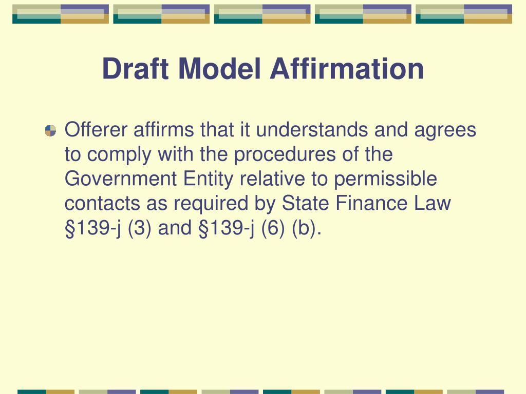 Draft Model Affirmation