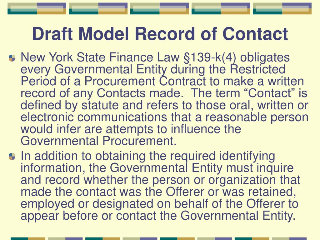 Draft Model Record of Contact