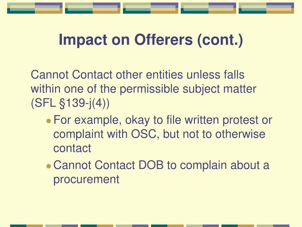 Impact on Offerers (cont.)