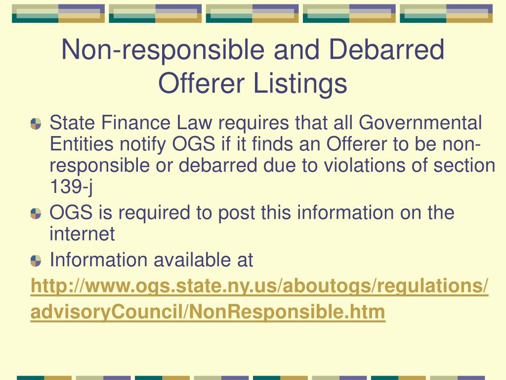 Non-responsible and Debarred Offerer Listings