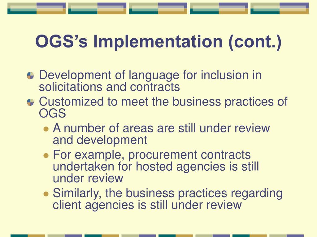 OGS's Implementation (cont.)