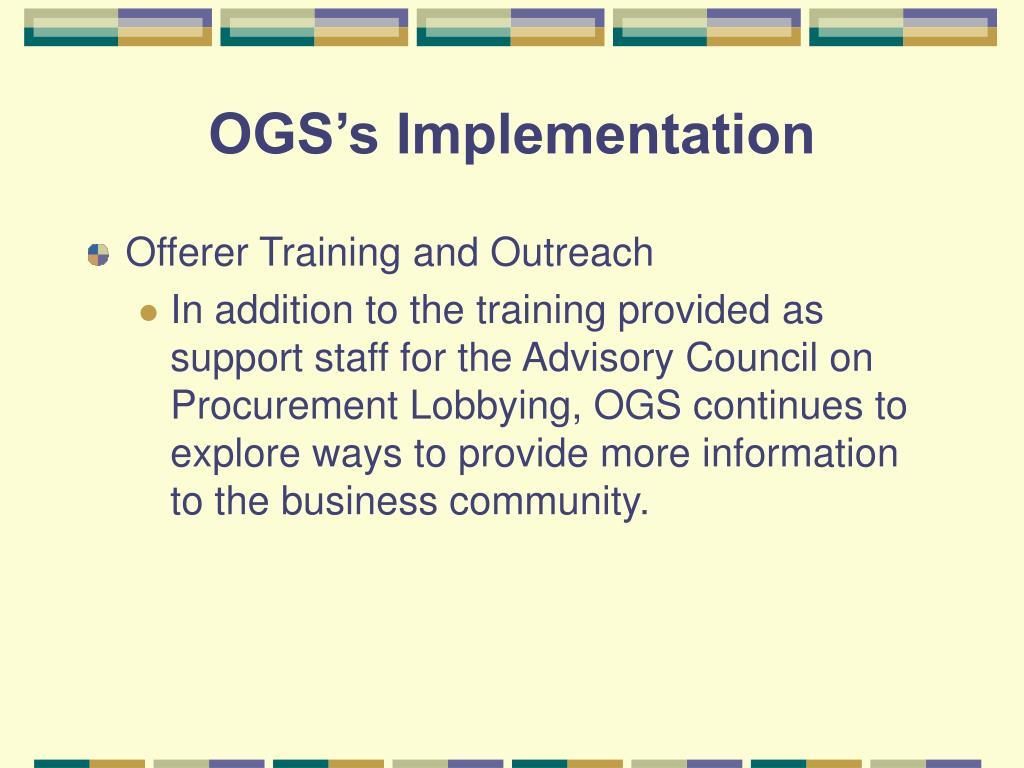 OGS's Implementation
