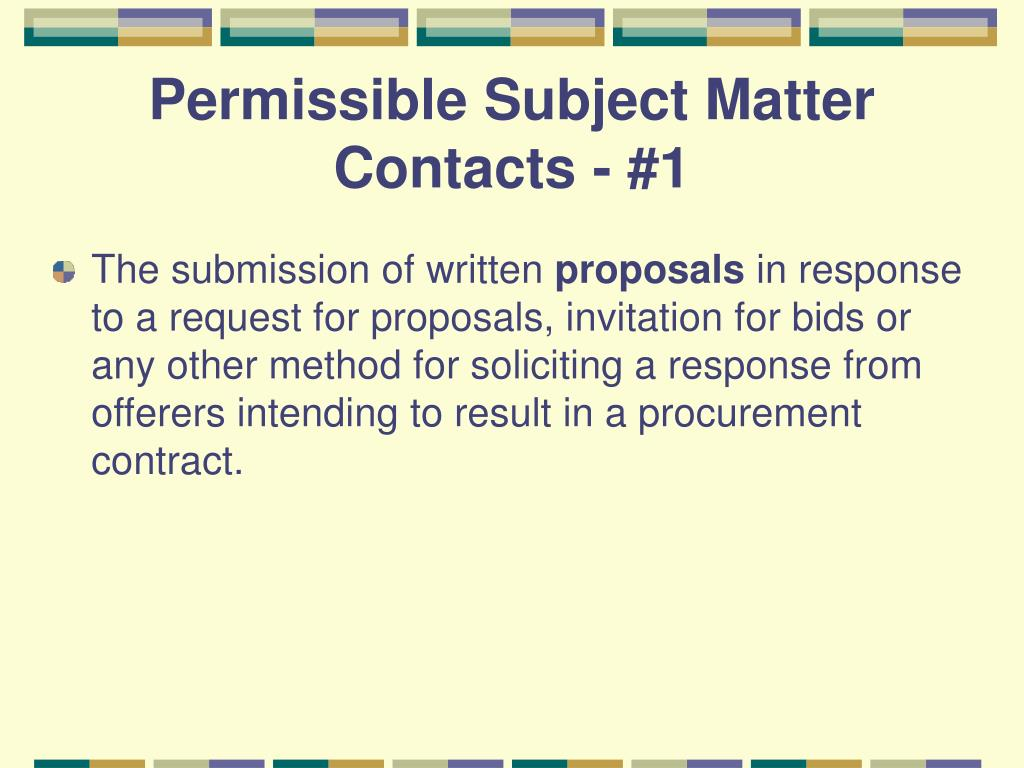 Permissible Subject Matter  Contacts - #1