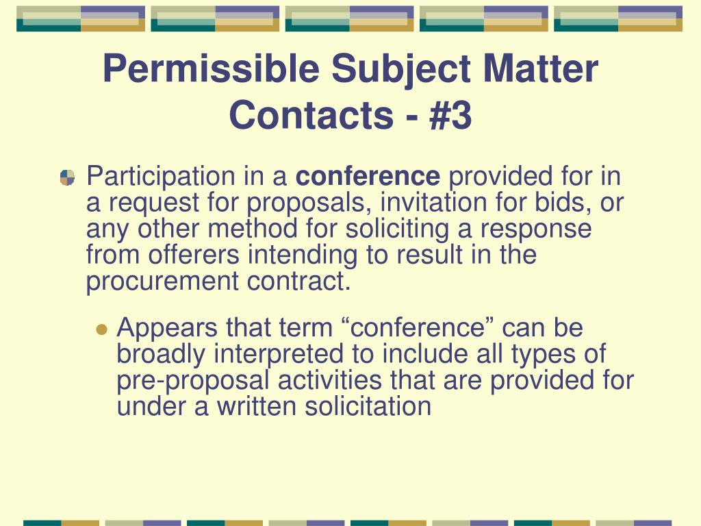 Permissible Subject Matter Contacts - #3