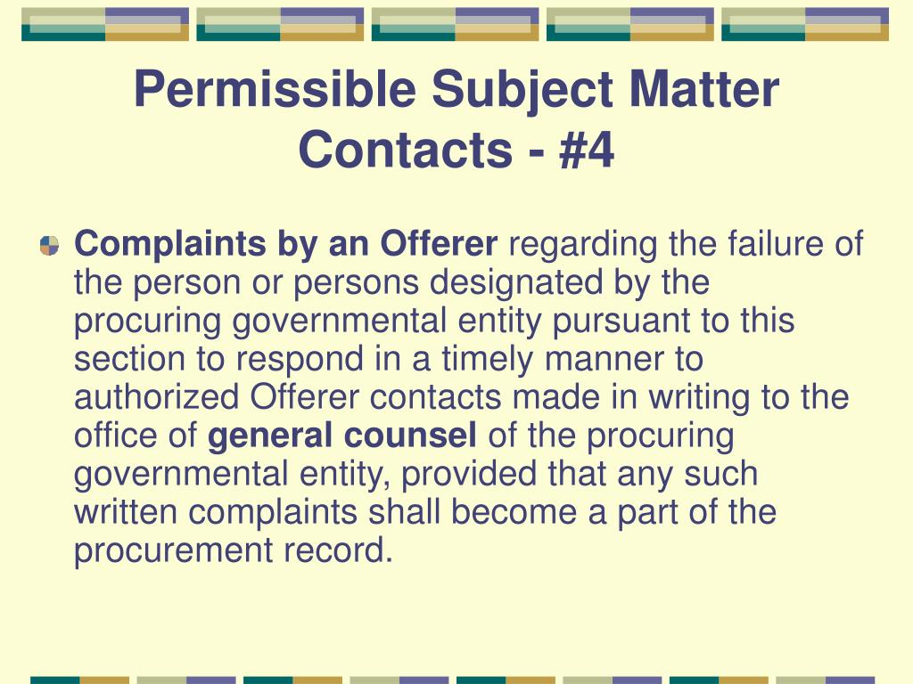 Permissible Subject Matter Contacts - #4