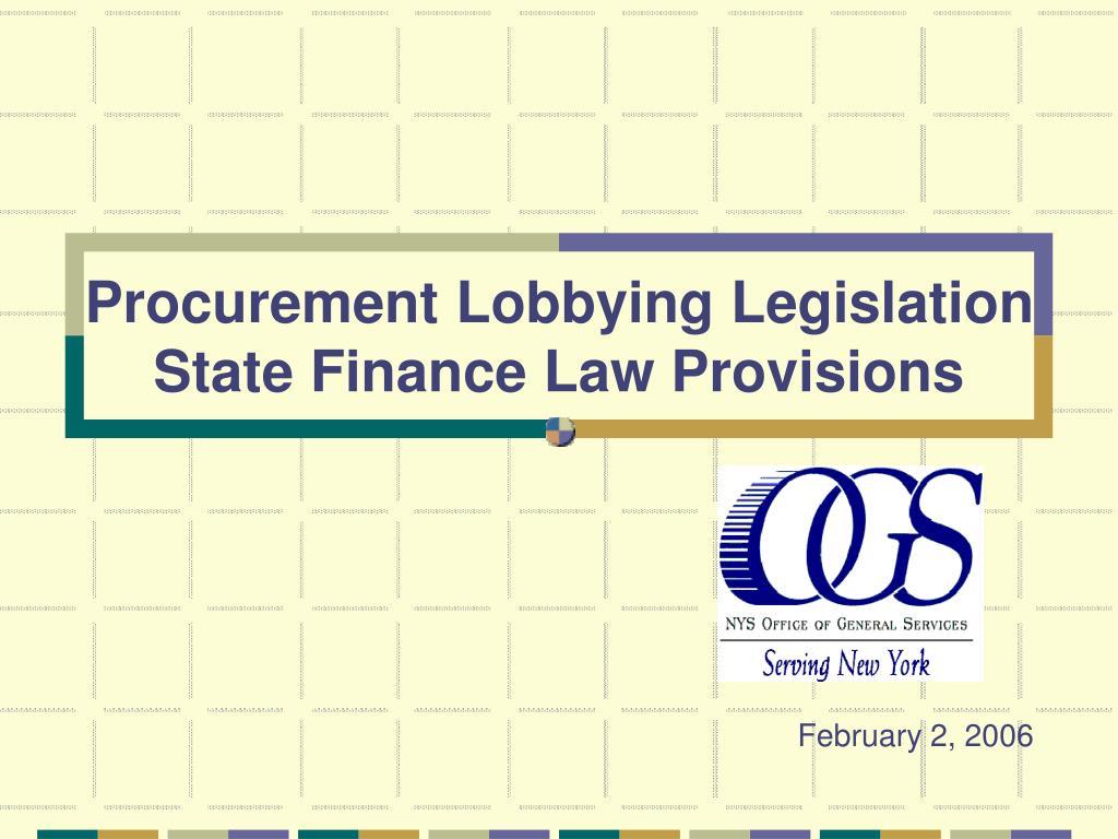 Procurement Lobbying Legislation