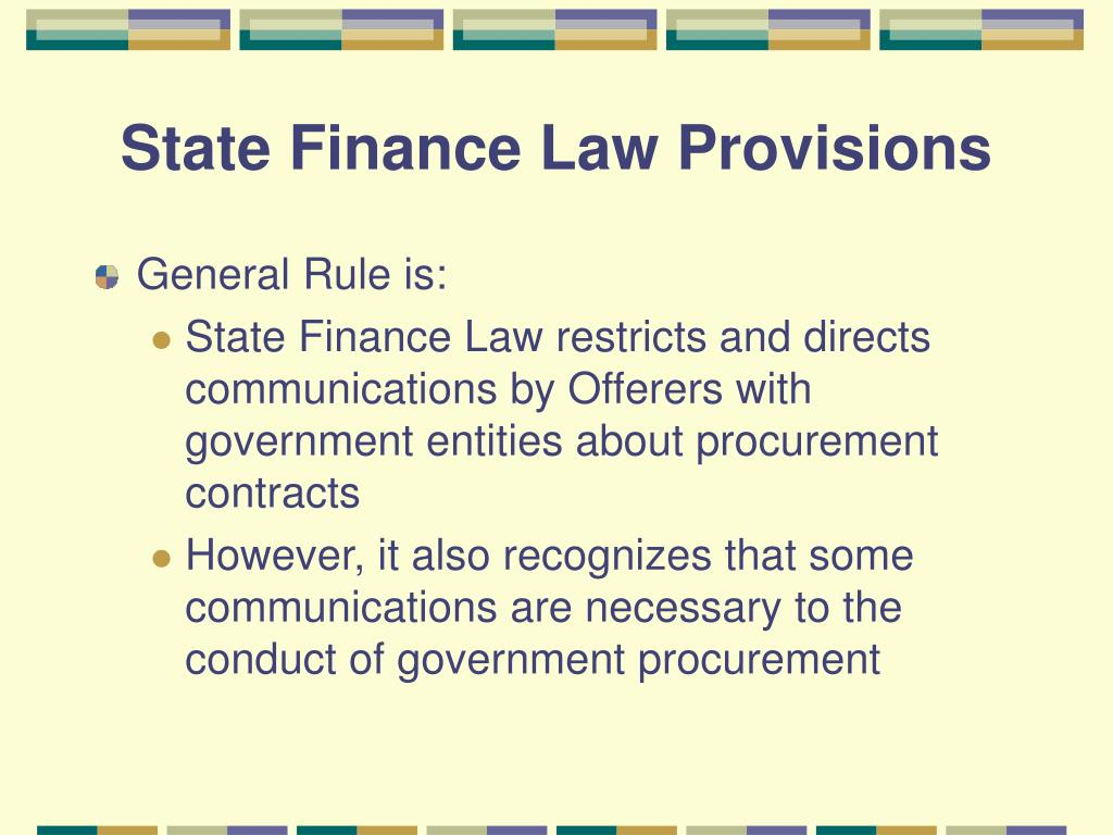 State Finance Law Provisions
