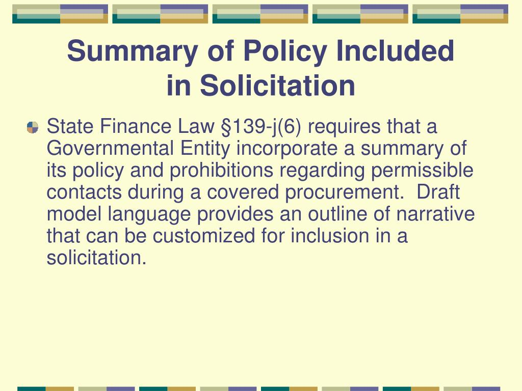 Summary of Policy Included