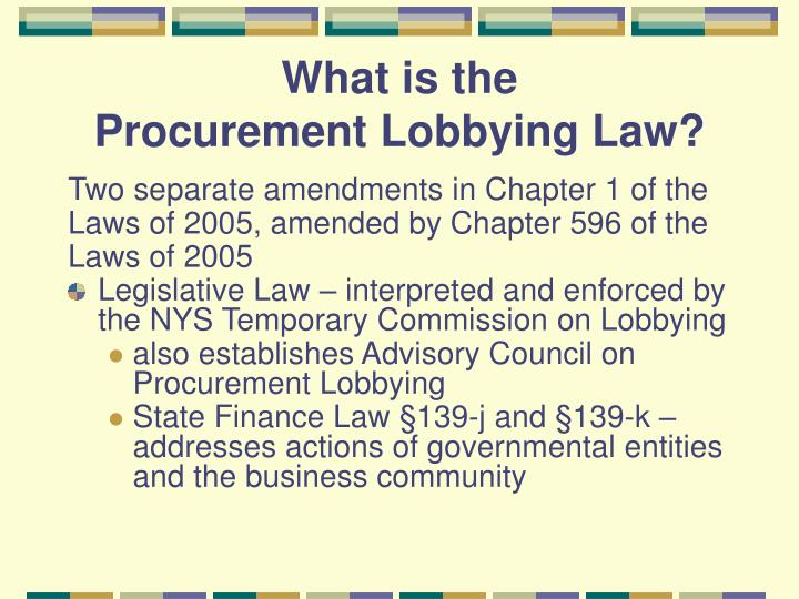 What is the procurement lobbying law