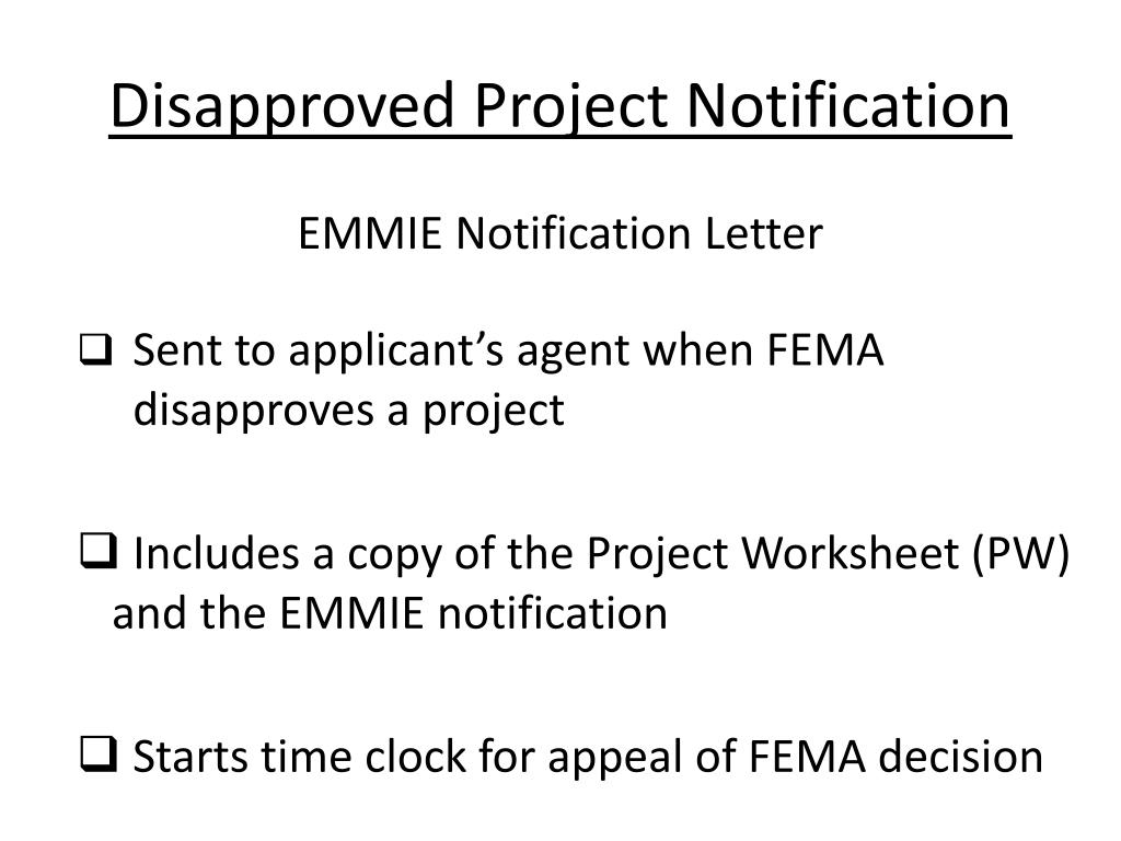 Disapproved Project Notification