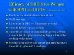 efficacy of dbt s for women with bpd and suds linehan et al 1999