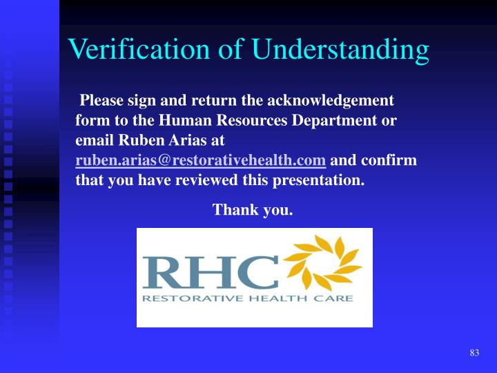 Verification of Understanding
