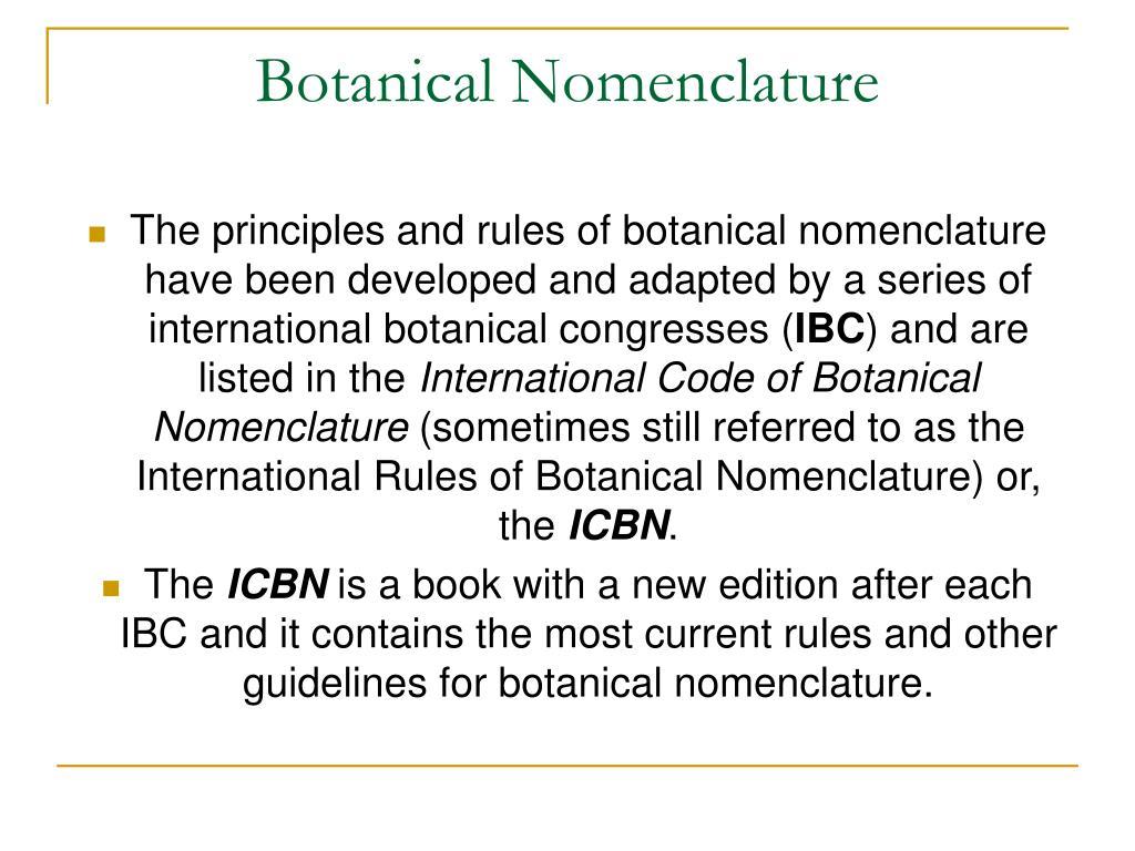 Botanical Nomenclature