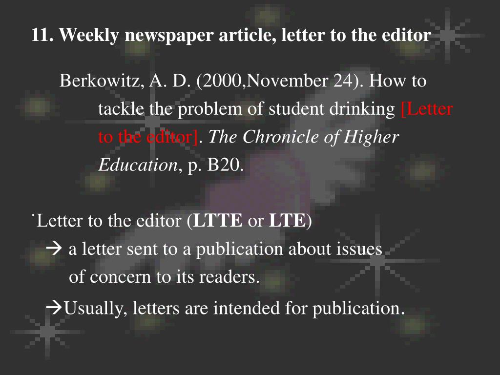 11. Weekly newspaper article, letter to the editor