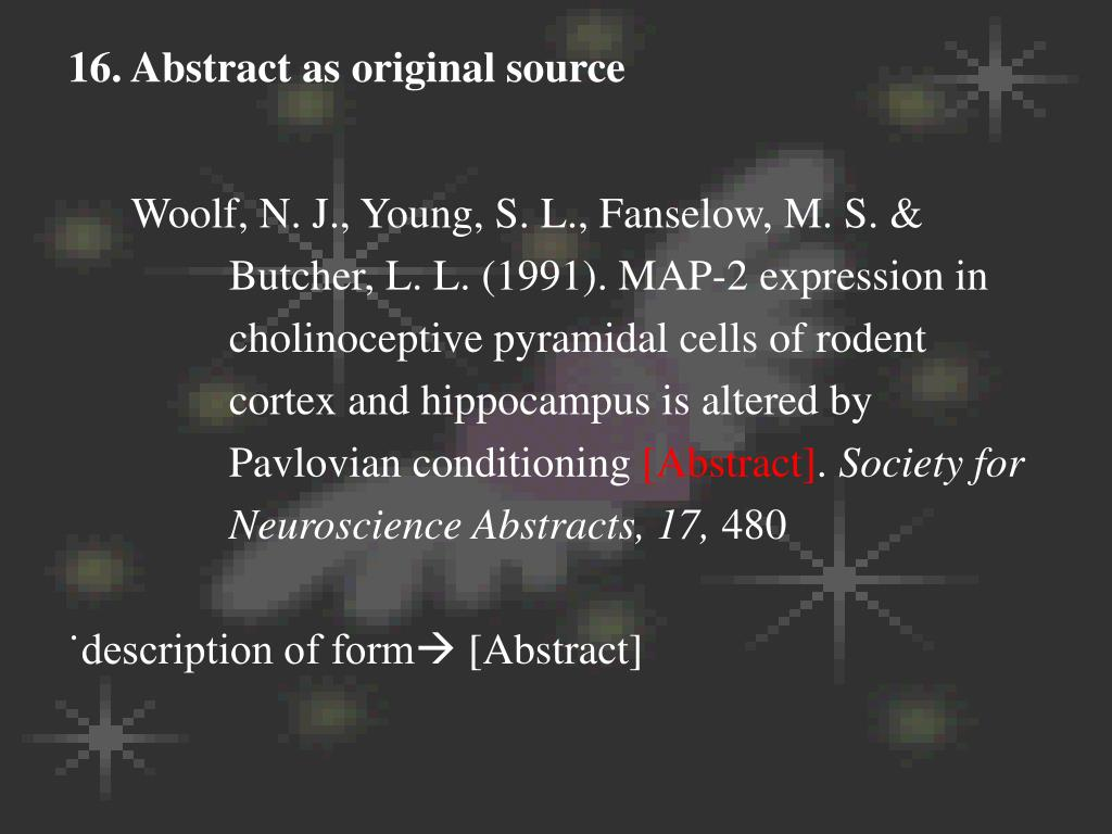 16. Abstract as original source