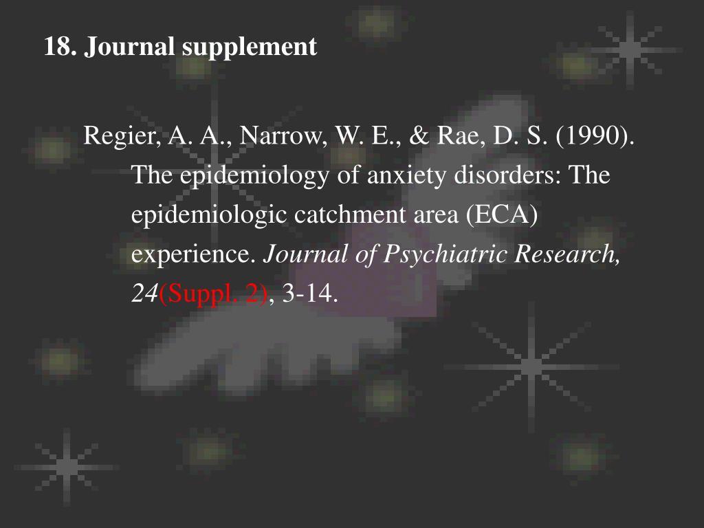 18. Journal supplement