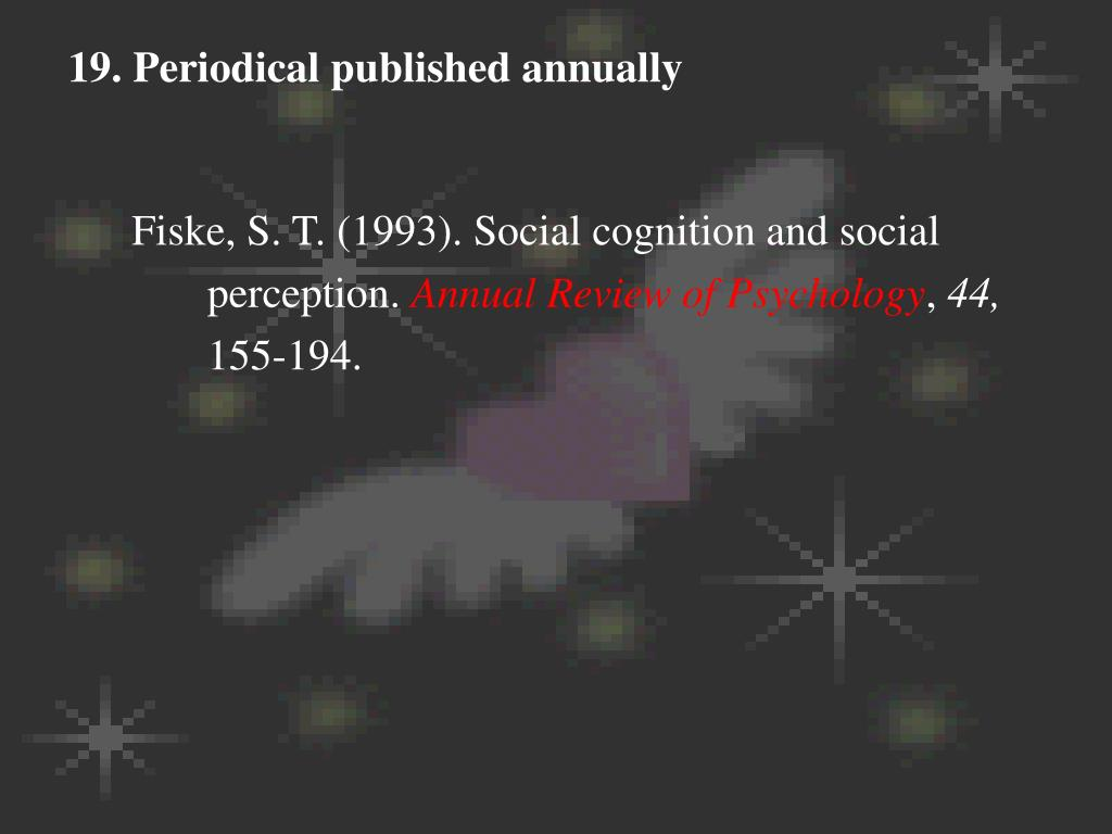 19. Periodical published annually