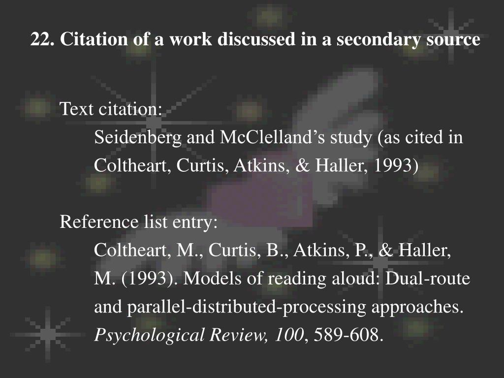 22. Citation of a work discussed in a secondary source