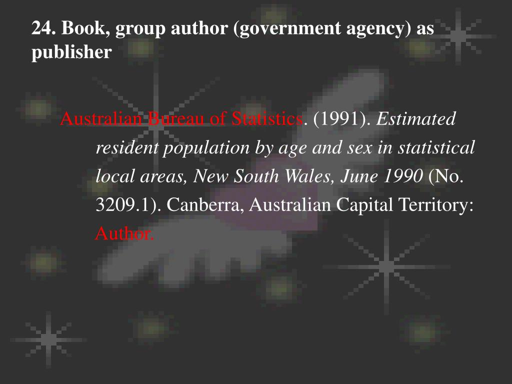 24. Book, group author (government agency) as publisher