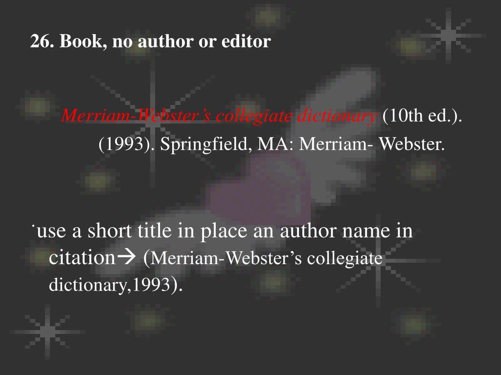 26. Book, no author or editor