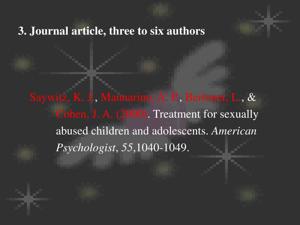 3. Journal article, three to six authors