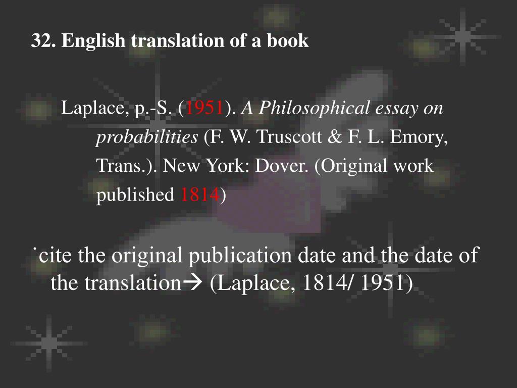 32. English translation of a book