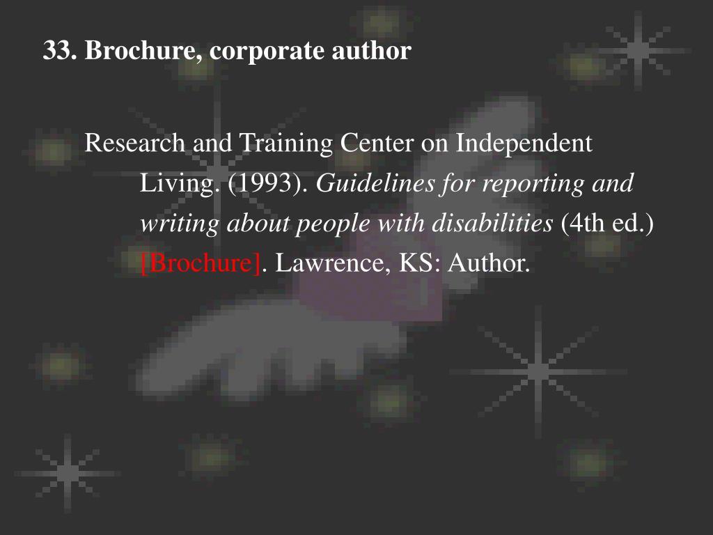 33. Brochure, corporate author