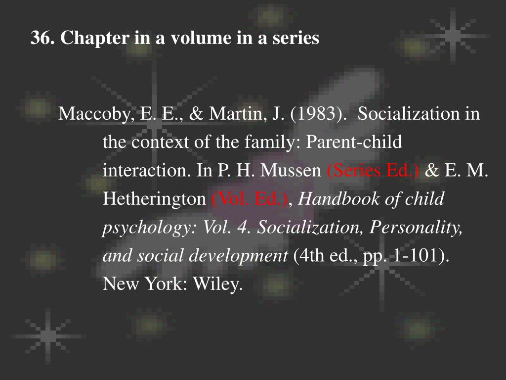 36. Chapter in a volume in a series