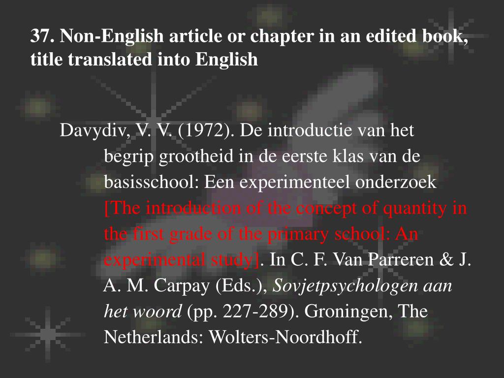 37. Non-English article or chapter in an edited book, title translated into English