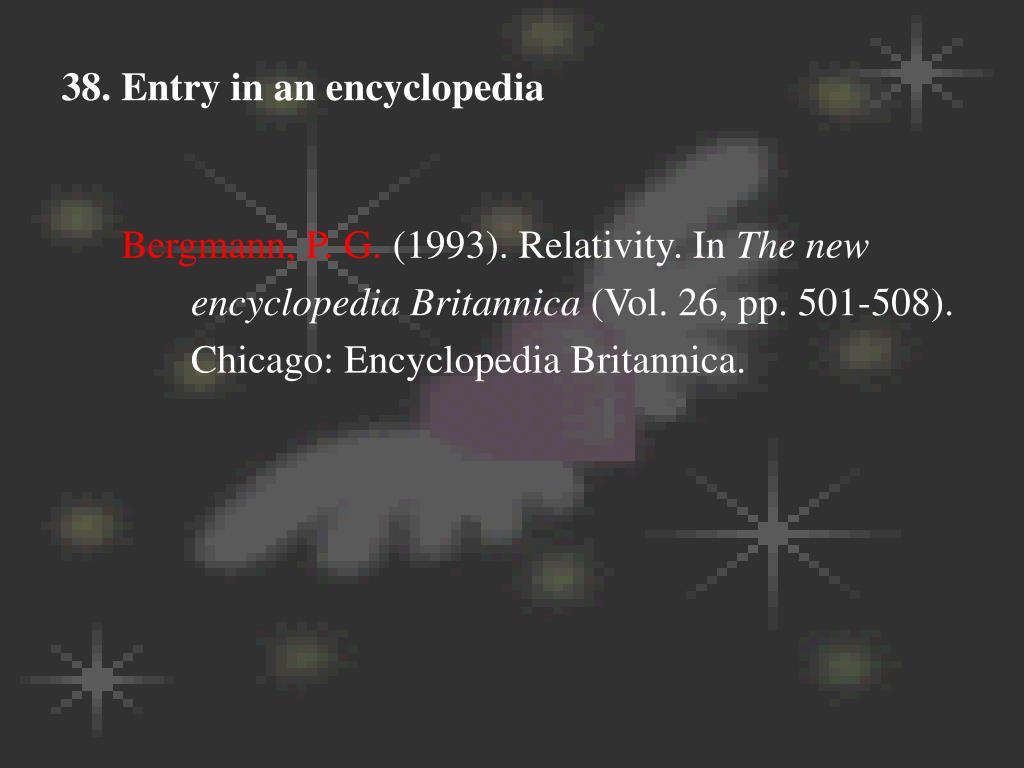 38. Entry in an encyclopedia