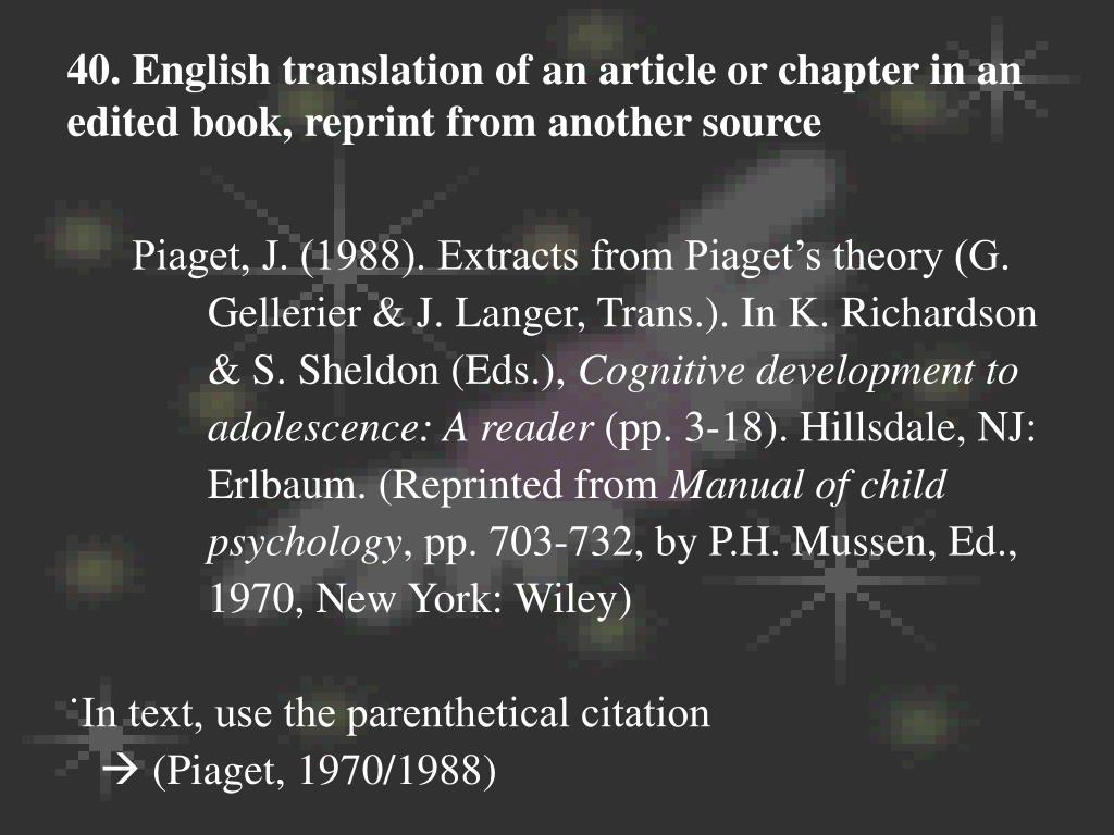 40. English translation of an article or chapter in an edited book, reprint from another source