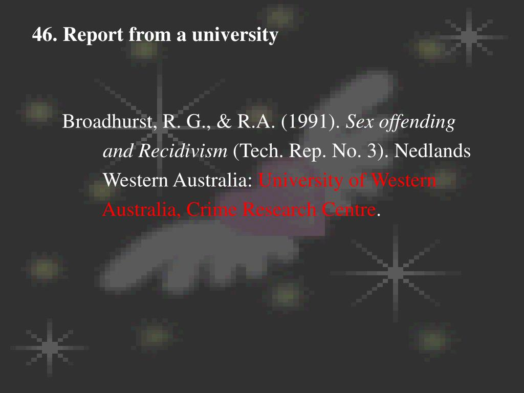 46. Report from a university