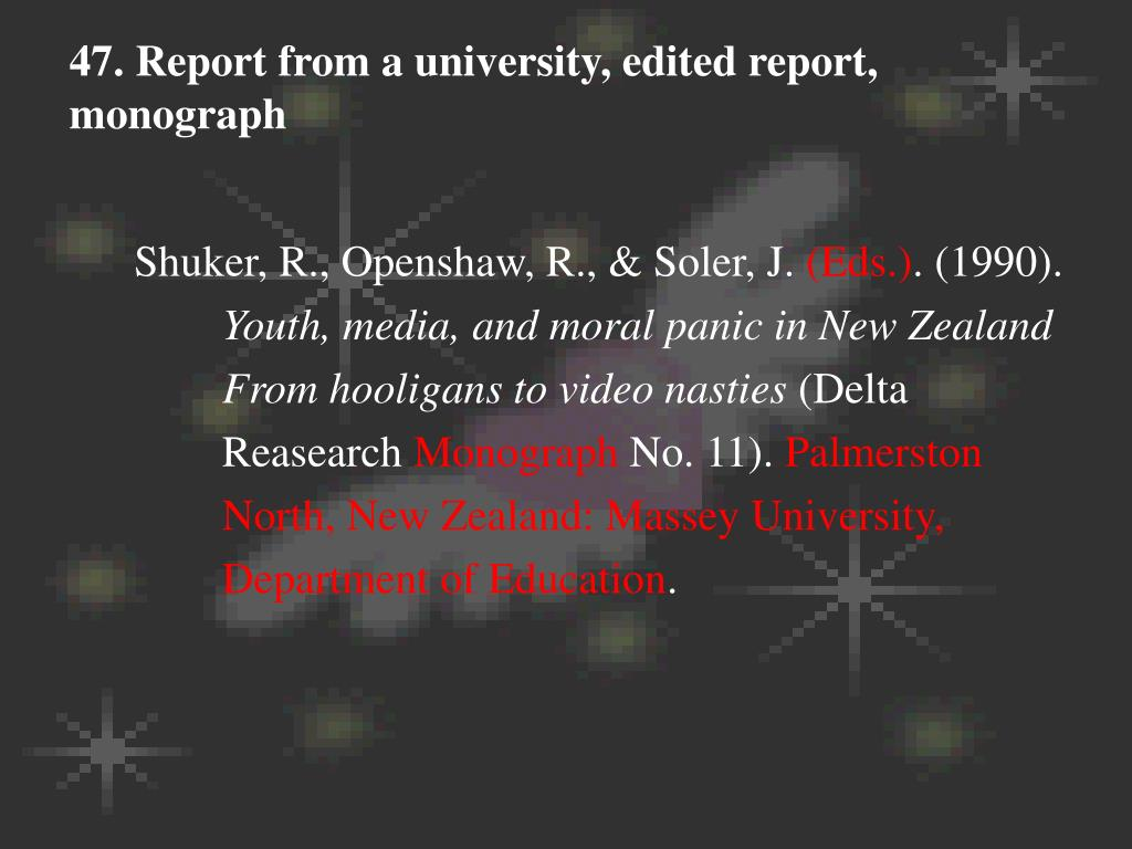 47. Report from a university, edited report, monograph