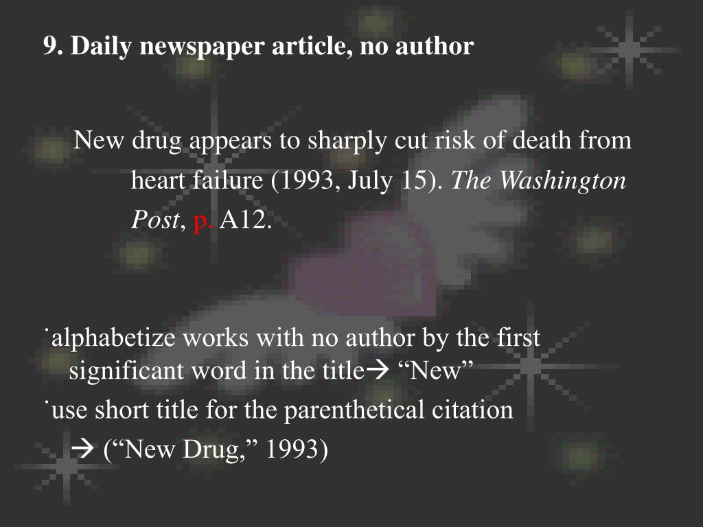 9. Daily newspaper article, no author