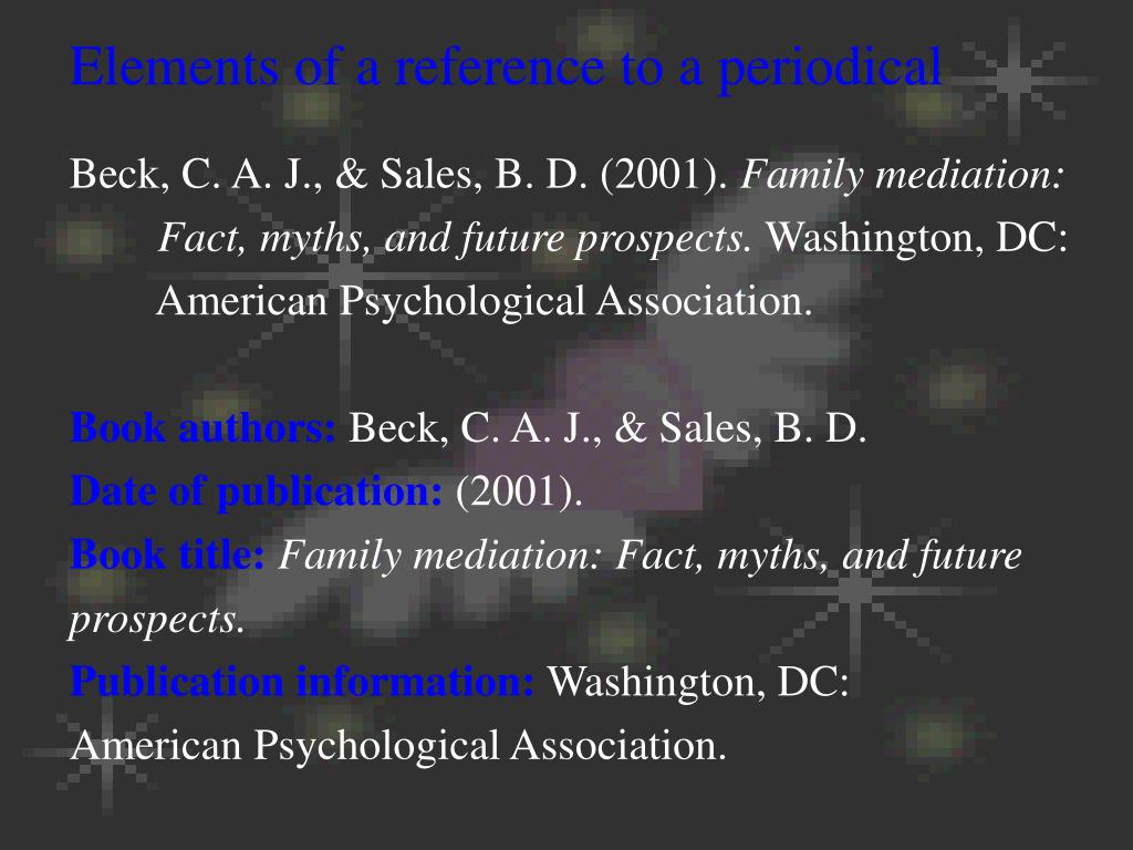 Elements of a reference to a periodical